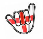 NO WORRIES Hand With St Georges Cross English Flag Motif External Vinyl Car Sticker 105x100mm